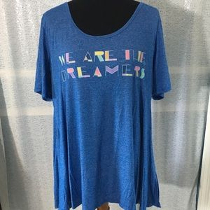 """LuLaRoe Perfect T """"We Are the Dreamers"""" top."""